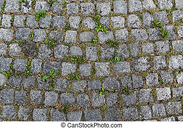Stone pattern with grass