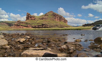 Stone Pebbles In A Shallow River, Andes, Peru - Wide still...