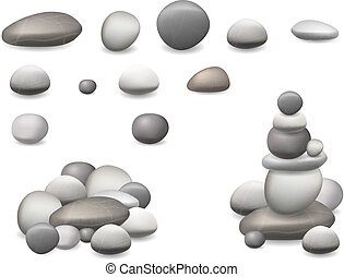 stone pebbles set isolated - Set pebbles and natural stones ...