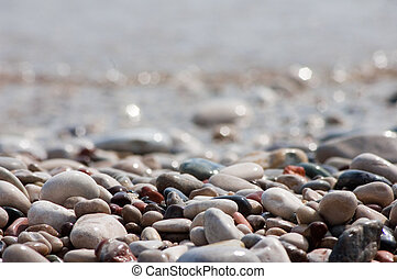 Stone - Backgrounds of defferent wet stone at beach, dof is...