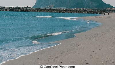 Stone pier on the Mediterranean Sea, the Strait of Gibraltar...