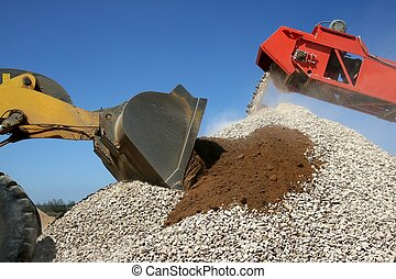 Stone Pile and Machines