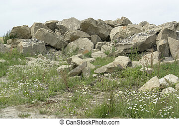 stone pile at summer time