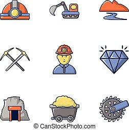 Stone processing icons set, cartoon style