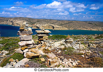 Stone pyramids on a hill. Greece. Rhodes