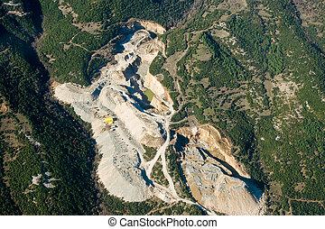 Stone quarry, aerial