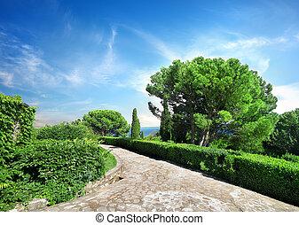 Vorontsov garden - Stone road in Vorontsov garden. Crimea....
