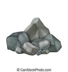 Stone Rock Stacked Pile Fieldstones Cobbles Vector. Solid ...