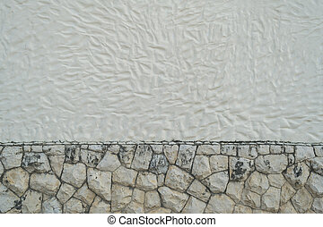 Stone rocks with cement texture wall background