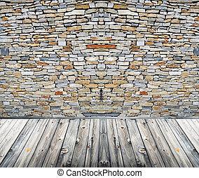 Stone room with wooden floor