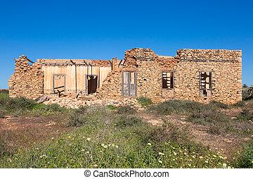 Stone ruin building in the countryside of Fuerteventura