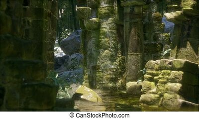 Stone ruins in a forest, abandoned ancient castle