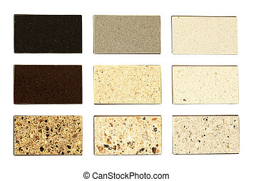 Stone samples for kitchen countertops over white