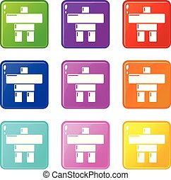 Stone sculpture canada icons set 9 color collection
