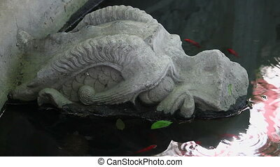 Stone sculpture of dragon fountain,xian,shaanxi,China.