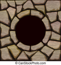 stone seamless pattern with frame - Vector illustration of...