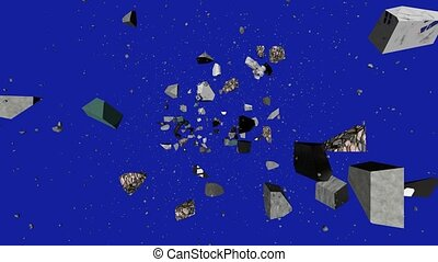 """Abstract animation of stone shatters and spare parts are moving in the camera on a blue space backdrop. An Art animation background."""