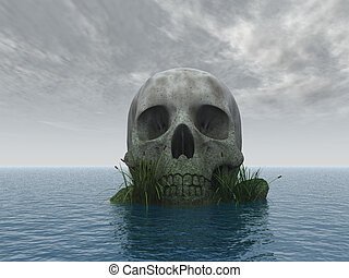 skull - stone skull at ocean - 3d illustration