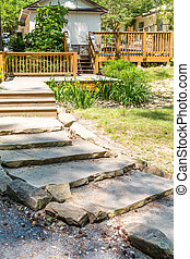 Stone Slab Steps in Garden