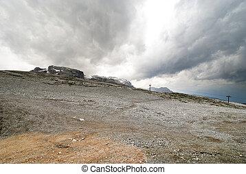 stone slope in Dolomites mountains
