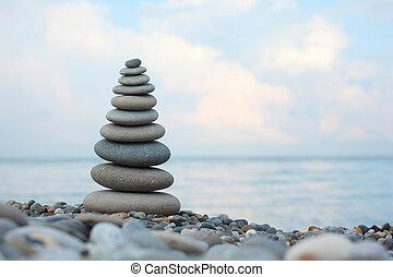 stone stack on pebble beach, Horizontal shot