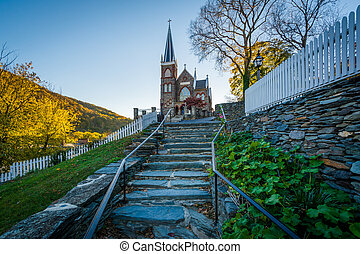 Stone staircase and the St. Peter's Roman Catholic Church in Harpers Ferry, West Virginia.