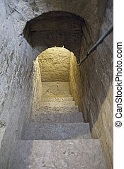 stone staircase in the castle, well, downhill