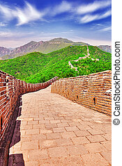 """Stone staircase of Great Wall of China, section """"Mitianyu""""...."""