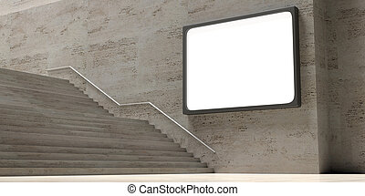 Stone stairs and wblank billboard on the wall, copy space. 3d illustration