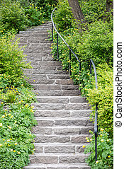 Stone stairs at a green garden during spring