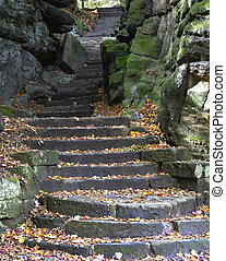 Stone stairs in fall