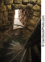 Stone stairs inside tower of the Gravensteen Castle at Ghent.
