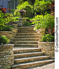Stone stairs landscaping - Natural stone stairs landscaping...