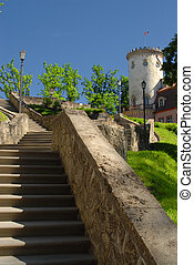 Stone stairs up to tower