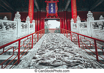 Stone stairs with dragons in Temple of Confucius at Beijing...