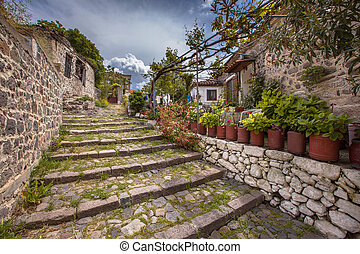 Stone stairs with gardens on Lesbos island Greece - Rocky...