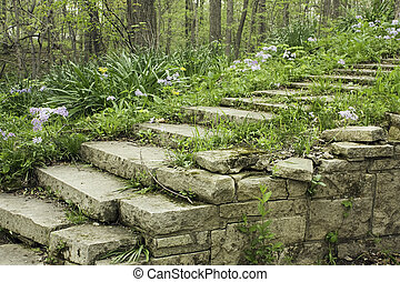 Stone stairway and wall on a shady garden path