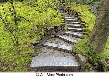 Stone Stairway Steps in Japanese Garden