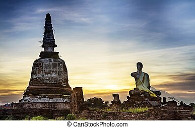 Stone statue and Pagoda of a Buddh
