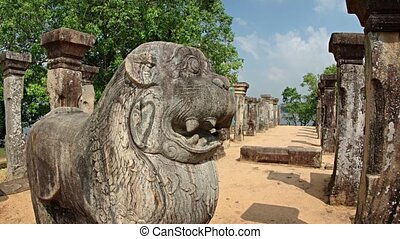 Stone Statue of a Mythical Creature in Ruins at Polonnaruwa...