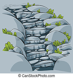 Cartoon stone steps leading down a path.