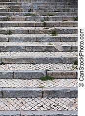 Stone steps in black and white/Old staircase