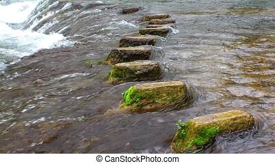 Stone steps in the waterfall