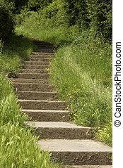 Stone steps leading up a hill sand point beach England uk