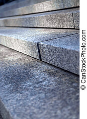 Stone steps - Stairway with granite stone steps in...