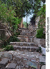 stone steps with ancient symbols