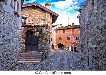 Stone street and architecture of Cividale del Friuli,...