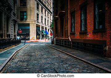 Stone Street, in the Financial District of Manhattan, New York.