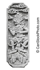 Stone tablet with the image of the ancient deity isolated on white. Indonesia, Bali