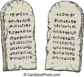 Stone Tablets - Two cartoon stone tablets containing ancient...